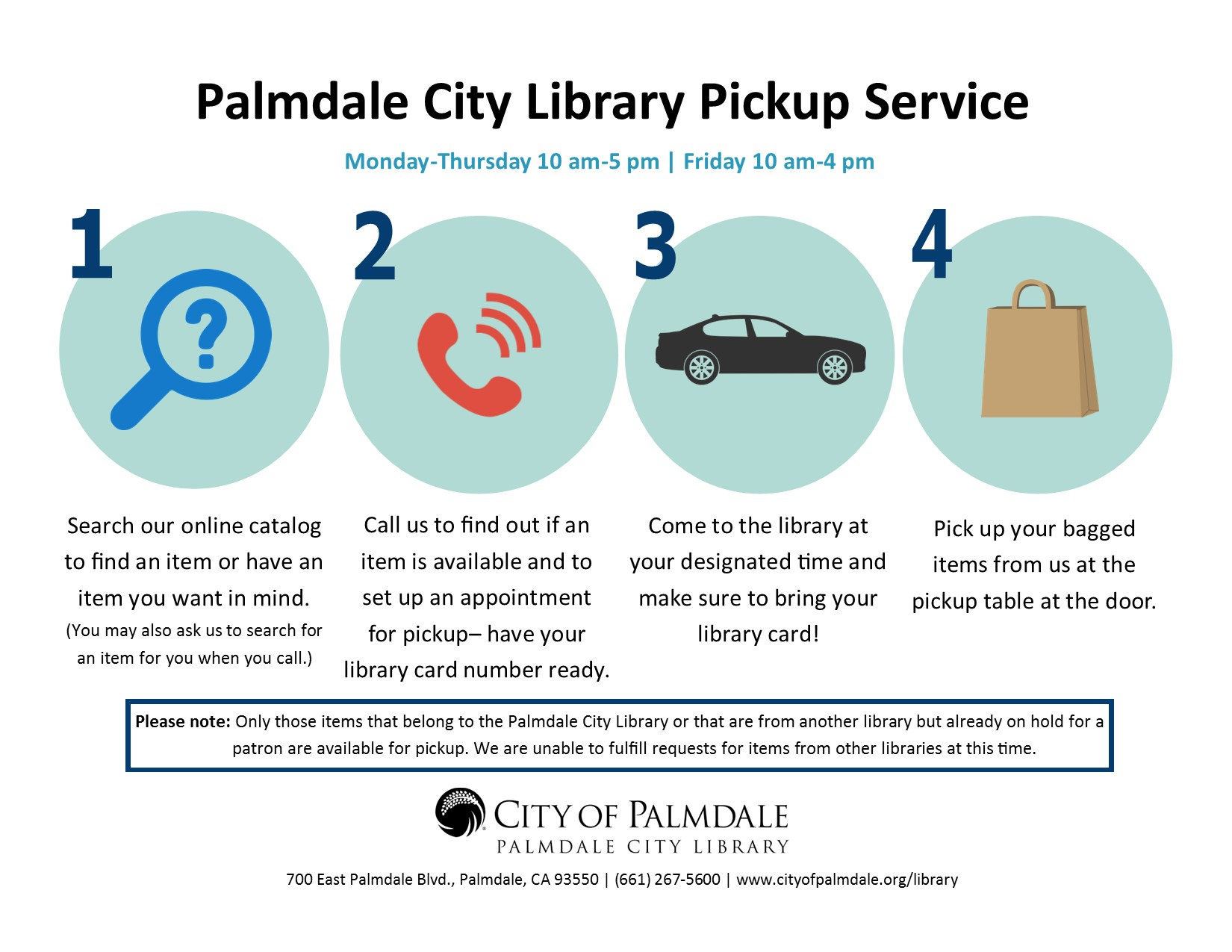 Library Pickup Service Flyer