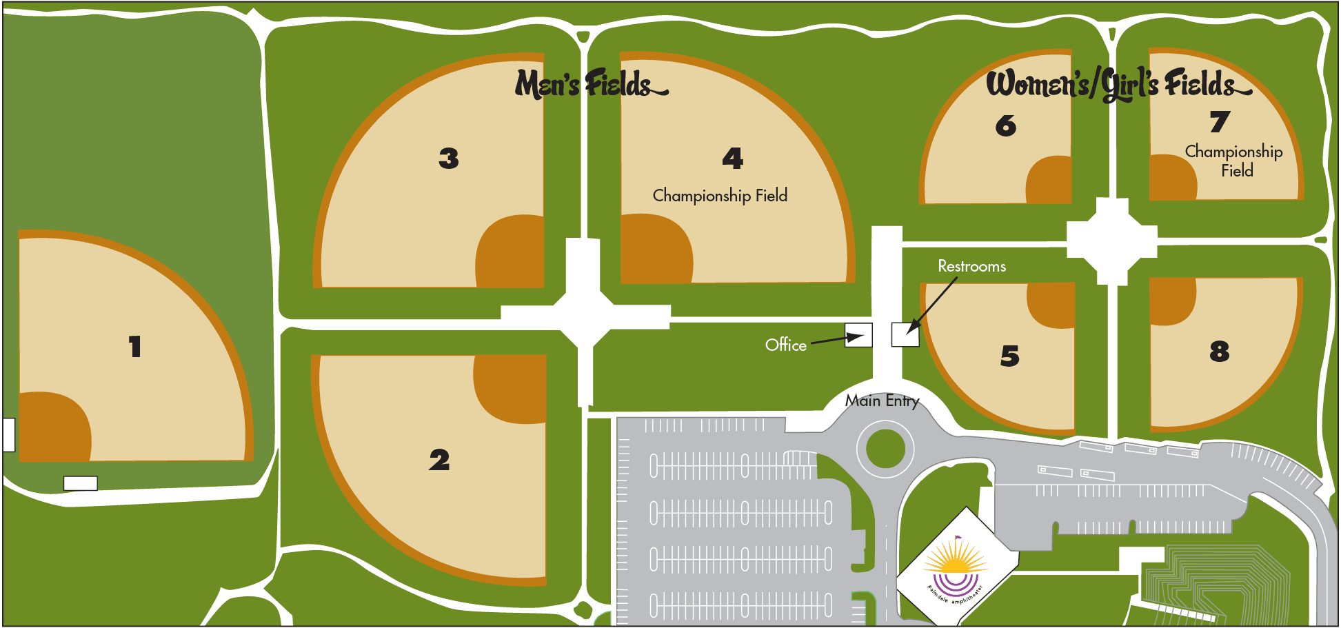 Best of the West Softball Complex map with numbered fields